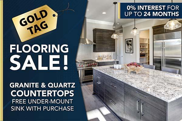Granite and quartz countertops. Free under-mount sink with purchase