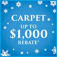Get up to $1000 Rebate on carpet during our new year new floor sale at Erskine Interiors