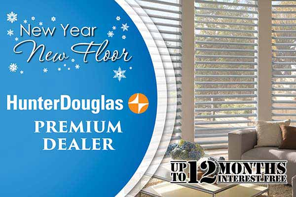 Save on Hunter Douglas Window Fashions during our New Year New Floor sale at Erskine Interiors