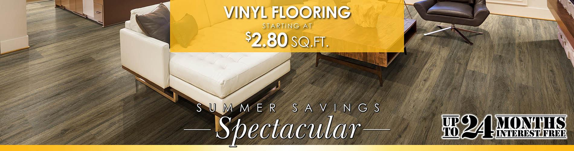 Vinyl flooring starting at $2.80 square foot during our Summer Savings Spectacular