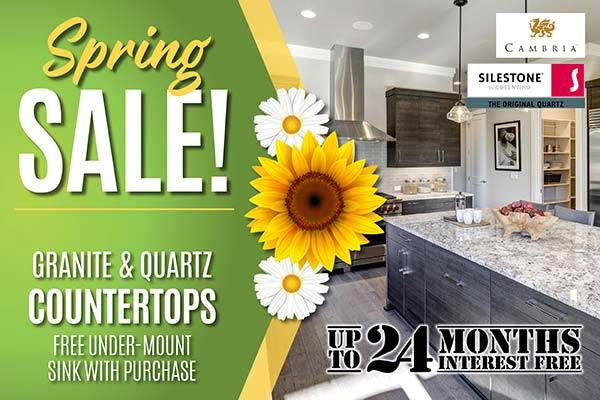 Granite and quartz countertops on sale during our Spring Sale! Free under-mount sink with purchase